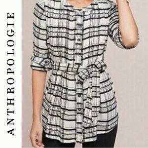 Anthropologie B/W Plaid Flannel Belted Top